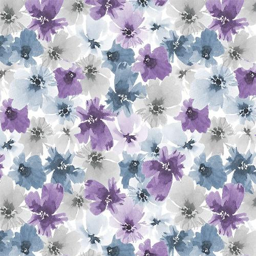 Quilting fabric featuring flower heads of blue, purple and gray are featured in the collection Awekenings  by Wilmington Prints.Please NOTE that with any 2 yards of the Awakenings collection purchased (in any combination), you'll receive the Awakenings pattern FREE.