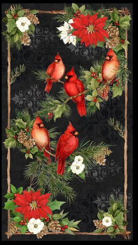 This fabric panel features majestic red cardinals perched on evergreen boughs laced with holly makes for a great center in your next seasonal quilt. Available at Colorado Creations Quilting