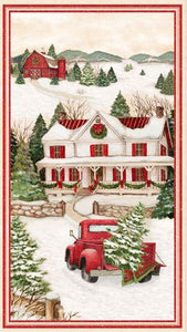 This fabric panel features a stately farmhouse and rustic red barn adorned with holiday decor on ground covered in snow.  Picture yourself in the vintage red pickup just coming back from cutting down an evergreen for the holidays. It's sure to make a great center in your next seasonal quilt. Available at Colorado Creations Quilting