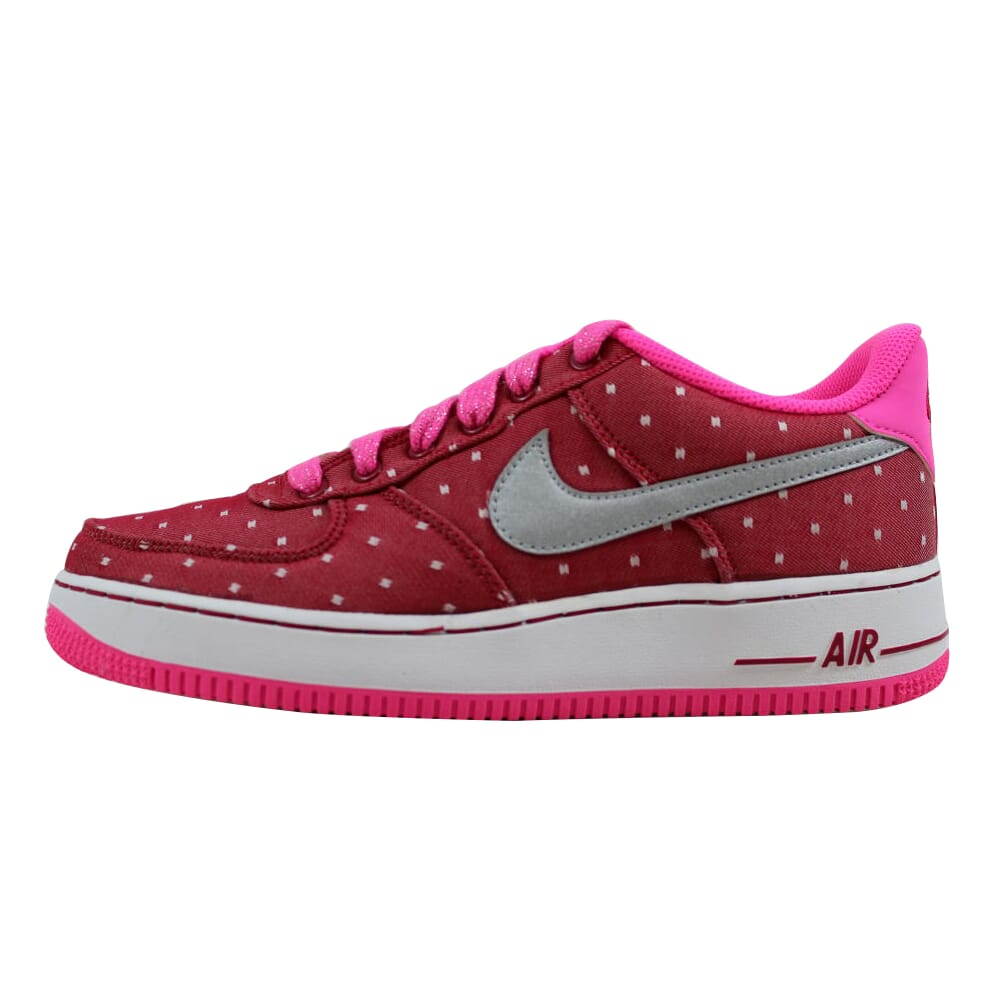 Nike Air Force 1 Dark Red/Metallic Silver-Pink Power-White 314219-603 Grade-School