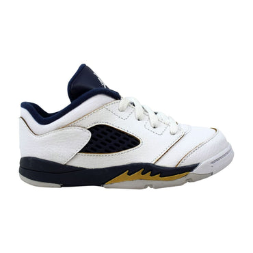 Nike Air Jordan V 5 Retro Low TD White/Midnight Navy-Metallic Gold Dunk From Above 314340-135 Toddler
