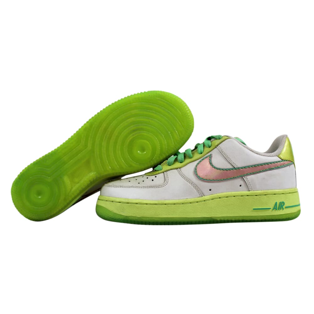 Nike Air Force 1 White/Perfect Pink-Lime-Tourmaline 314219-163 Grade-School