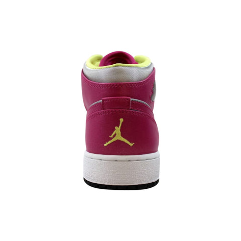 Nike Air Jordan 1 Mid Metallic Silver/Fusion Pink-Electric Yellow  555112-037 Grade-School