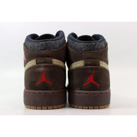 Nike Air Jordan I 1 Mid Premium BG Baroque Brown/Gym Red-Khaki-Black 619049-205 Grade-School
