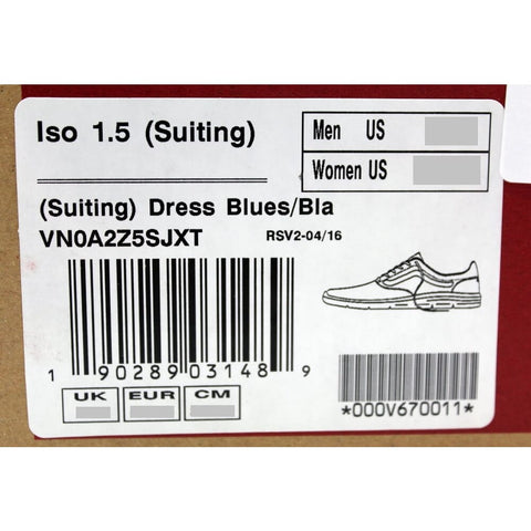 Vans Iso 1.5 Suiting Dress Blues VN0A2Z5SJXT Men's