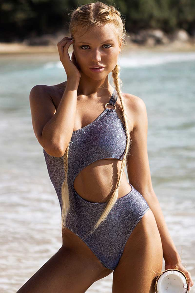 Shining Solid Cut Out One Piece Swimsuit