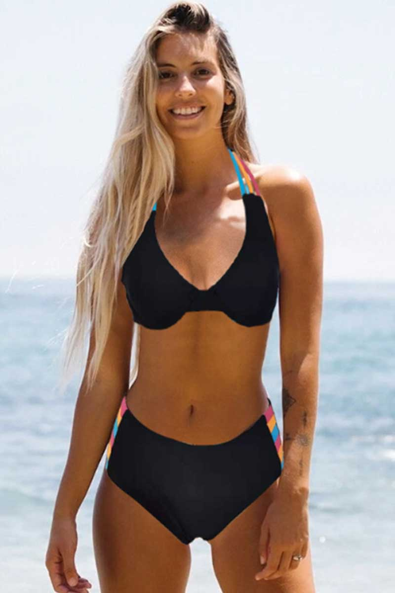 Black Halter Color Bar Bikini Set