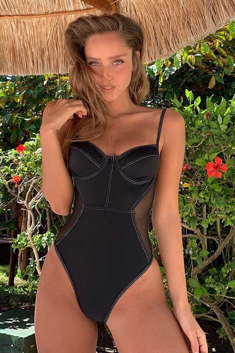 Classic Solid Black One Piece Swimsuit With Side Mesh