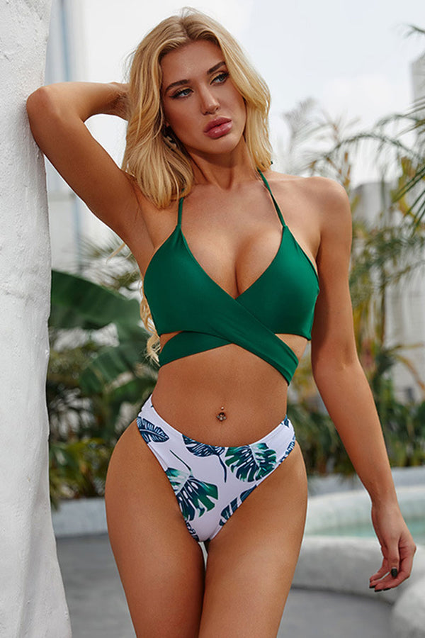 3 Colors Solid Halter Top Bikini Set With Print Bottom