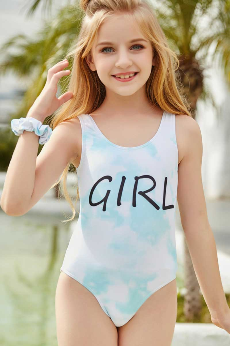 Girl Print Tie Dye One Piece Swimsuit
