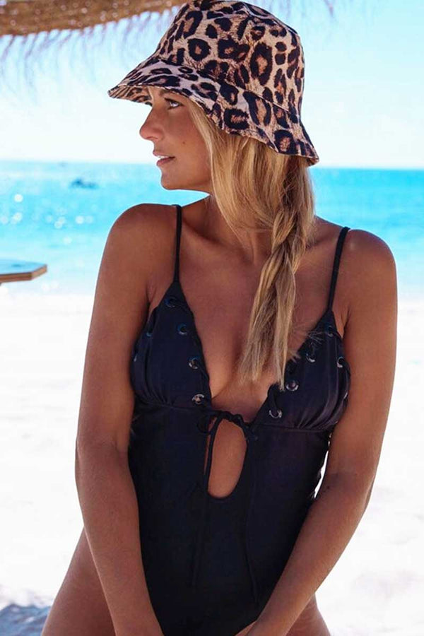 Cute Solid Knotted One Piece Swimsuit