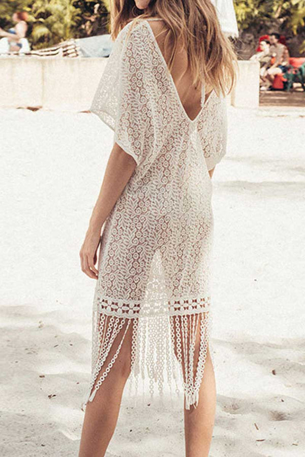 CupNami V Neck Hollow Lace Tassel Cover Up