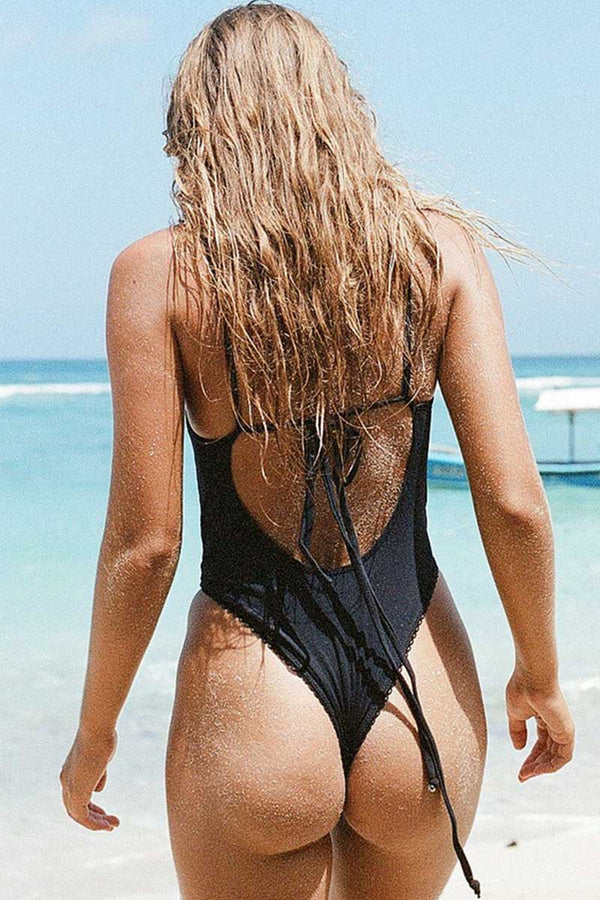 Black Solid Lace One Piece Swimsuit