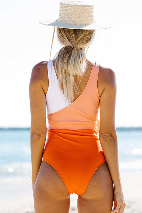 Solid Knotted One Piece Swimsuit