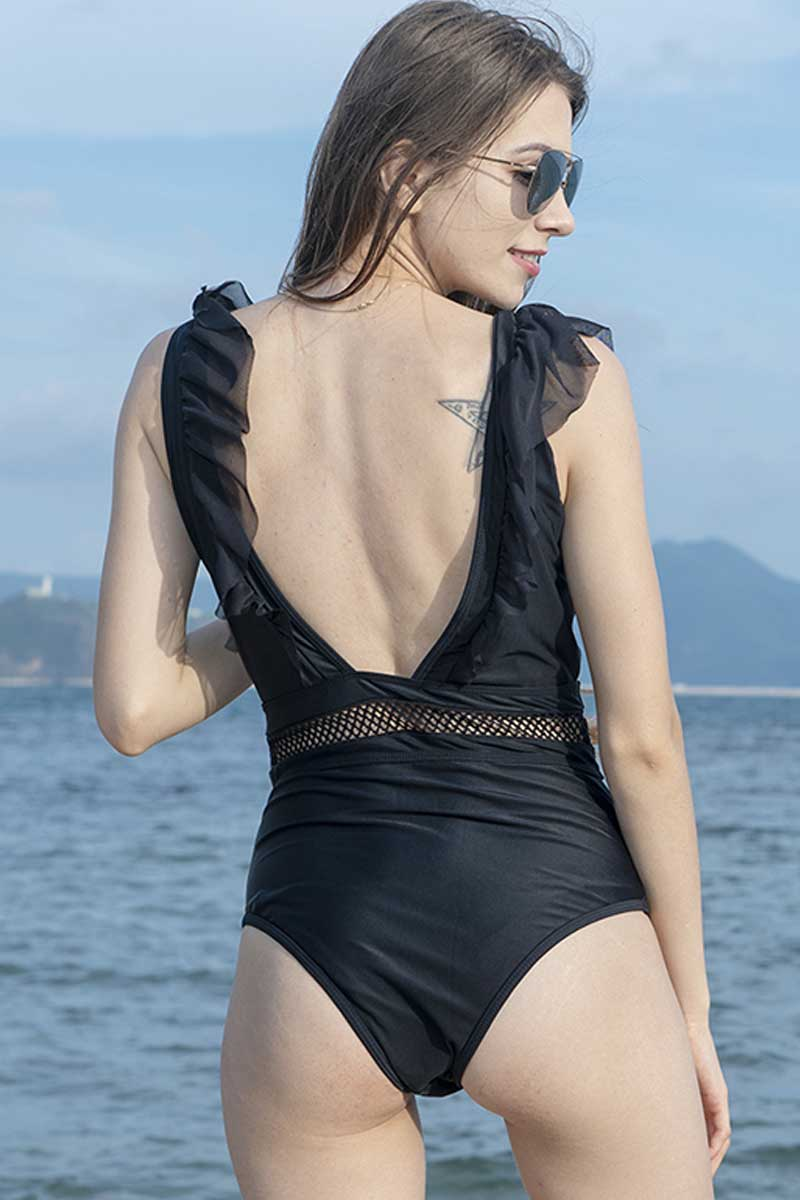 Solid Ruffle Cut Out One Piece Swimsuit