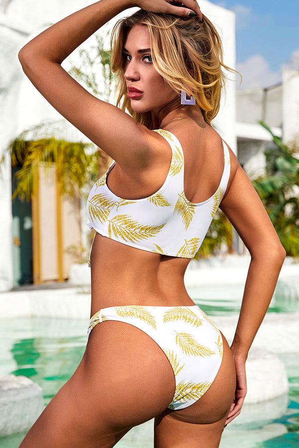 Cute Golden Leaf Print Knotted Bikini Set With High Waisted Bottom