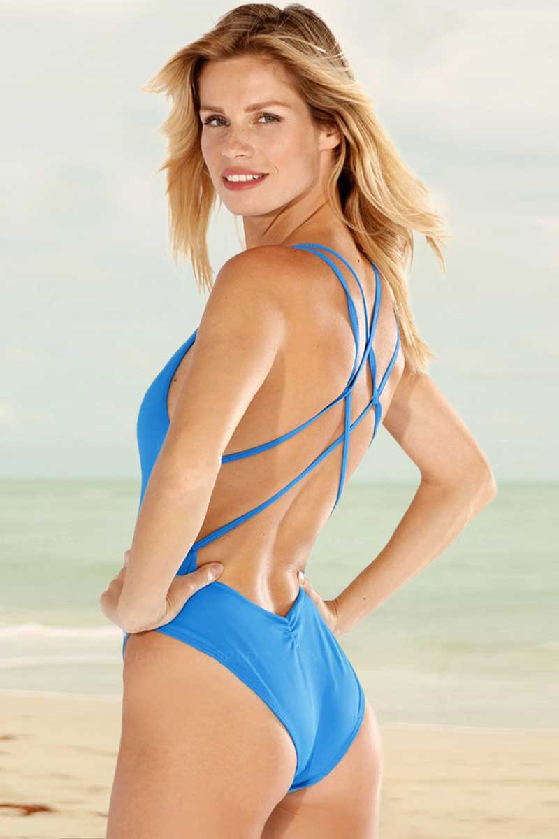 Solid V-neck One Piece Swimsuit