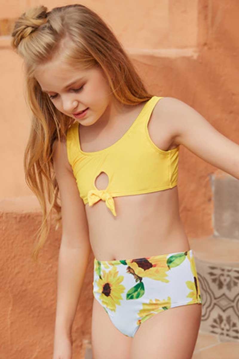Yellow Sunflower Print Bikini Set