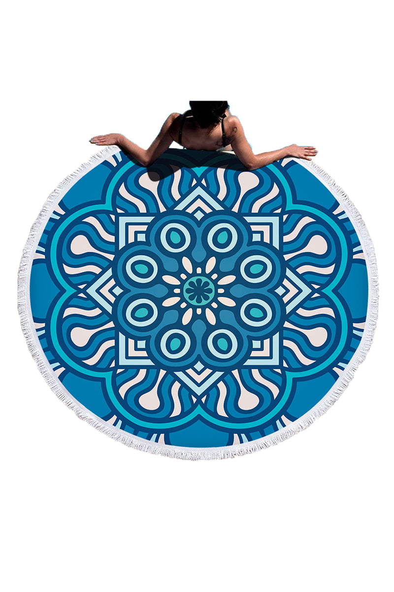 CupNami Blue Geometric Round Beach Towel