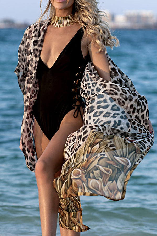 CupNami Leopard Chiffon Cover Up