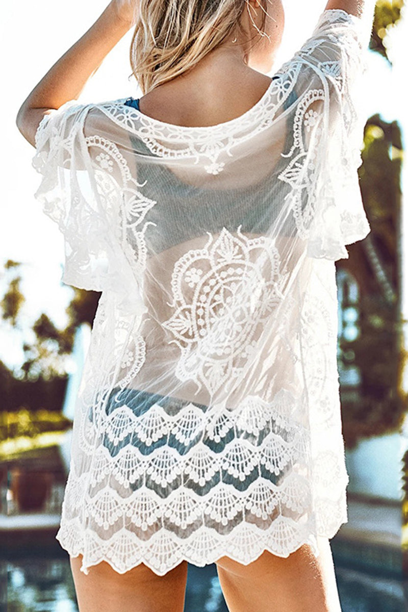 CupNami V-neck Lace Crochet Cover Up