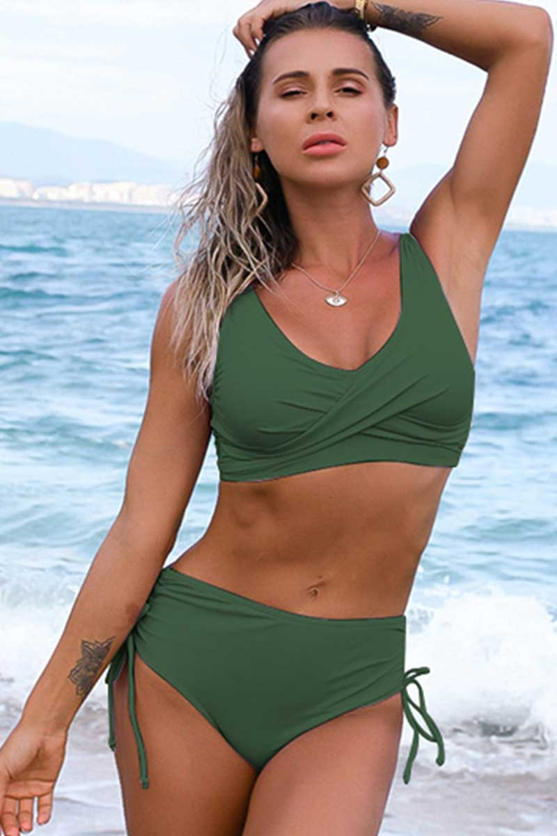 Solid High Waist Lace Up Bikini Set