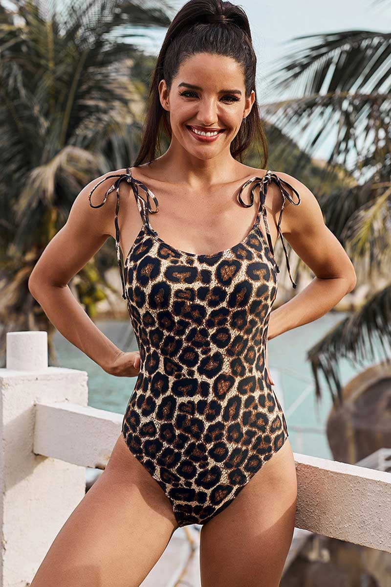 Leopard & Snake Print Lace Up One Piece Swimsuit