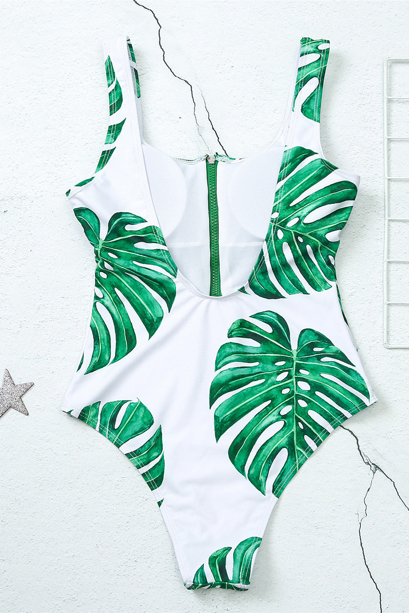 CupNami Green Leaves Zipper Front One Piece Swimsuit