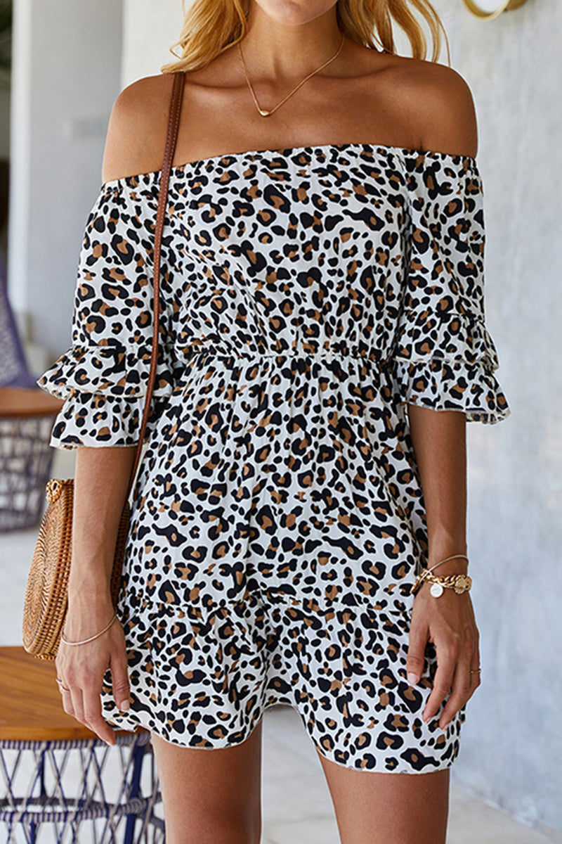 CupNami Leopard Off-Shoulder Ruffle Mini Dress