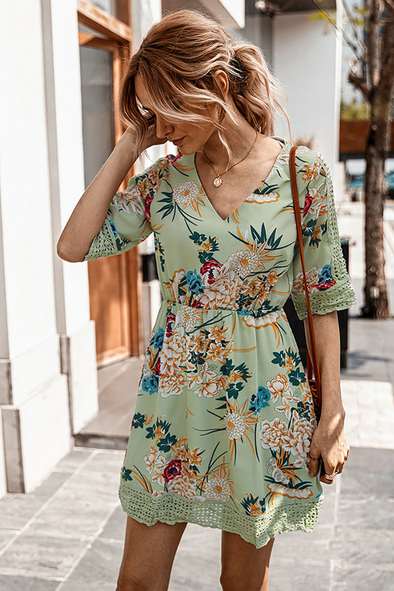 CupNami Floral Mini Dress With Lace Edge