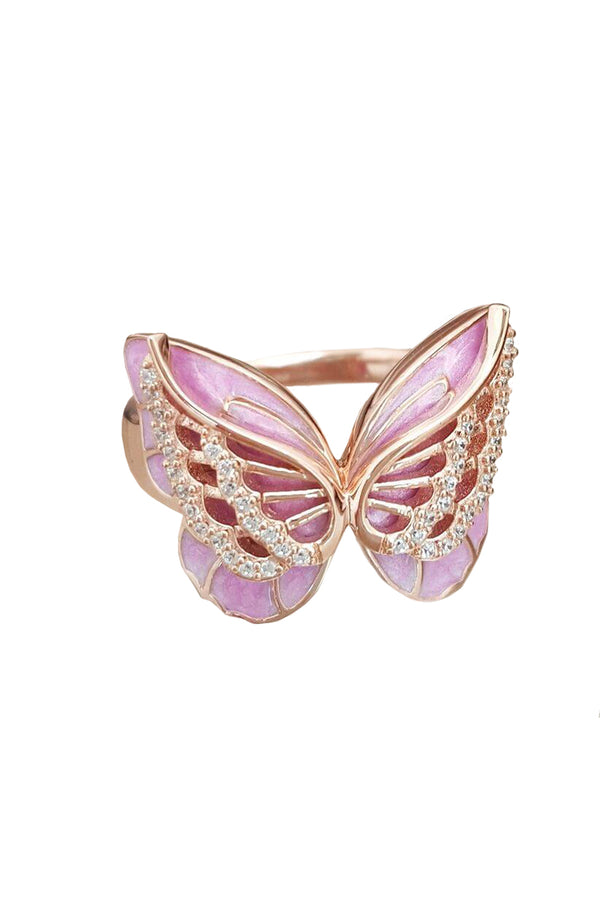 CupNami Pink Butterfly Diamond Mounted Rings