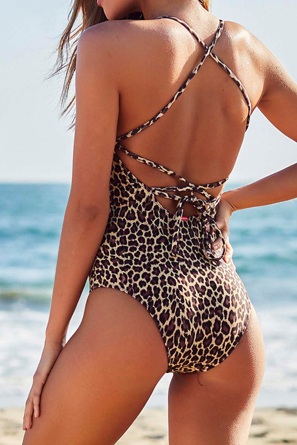 CupNami Leopard Crisscross Back One Piece Swimsuit