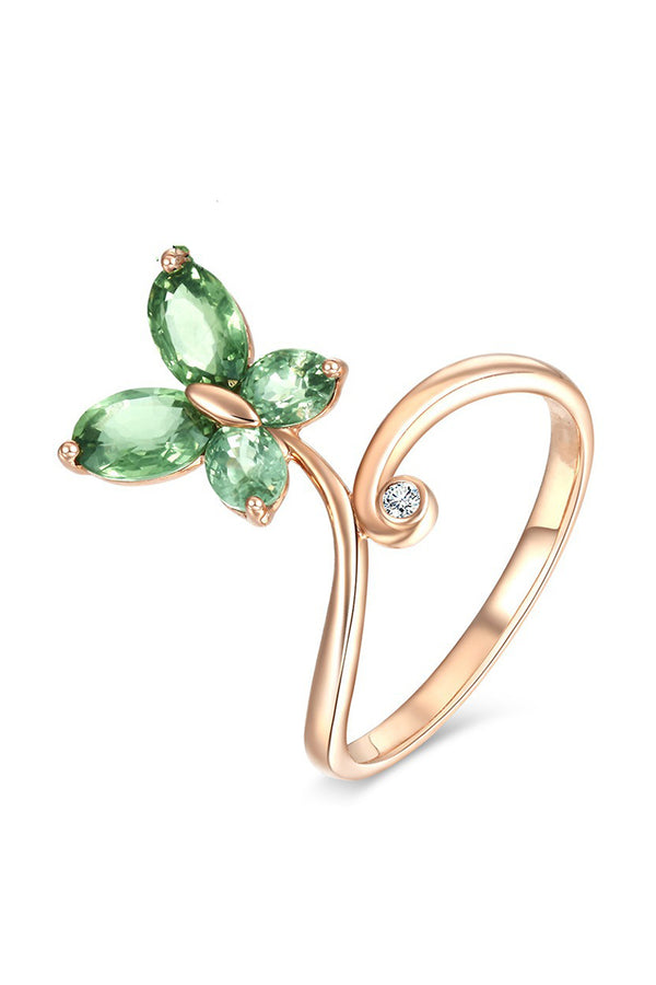 CupNami Green Diamond Butterfly Rings