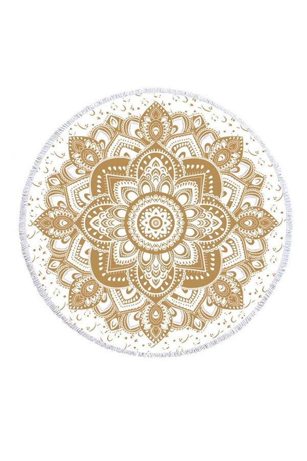 CupNami Golden Wedding Mandala Print Tassel Beach Towel