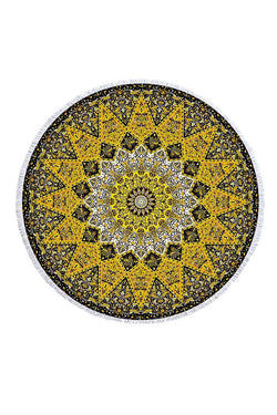 CupNami Soft Yellow Mandala Sand Free Beach Towel