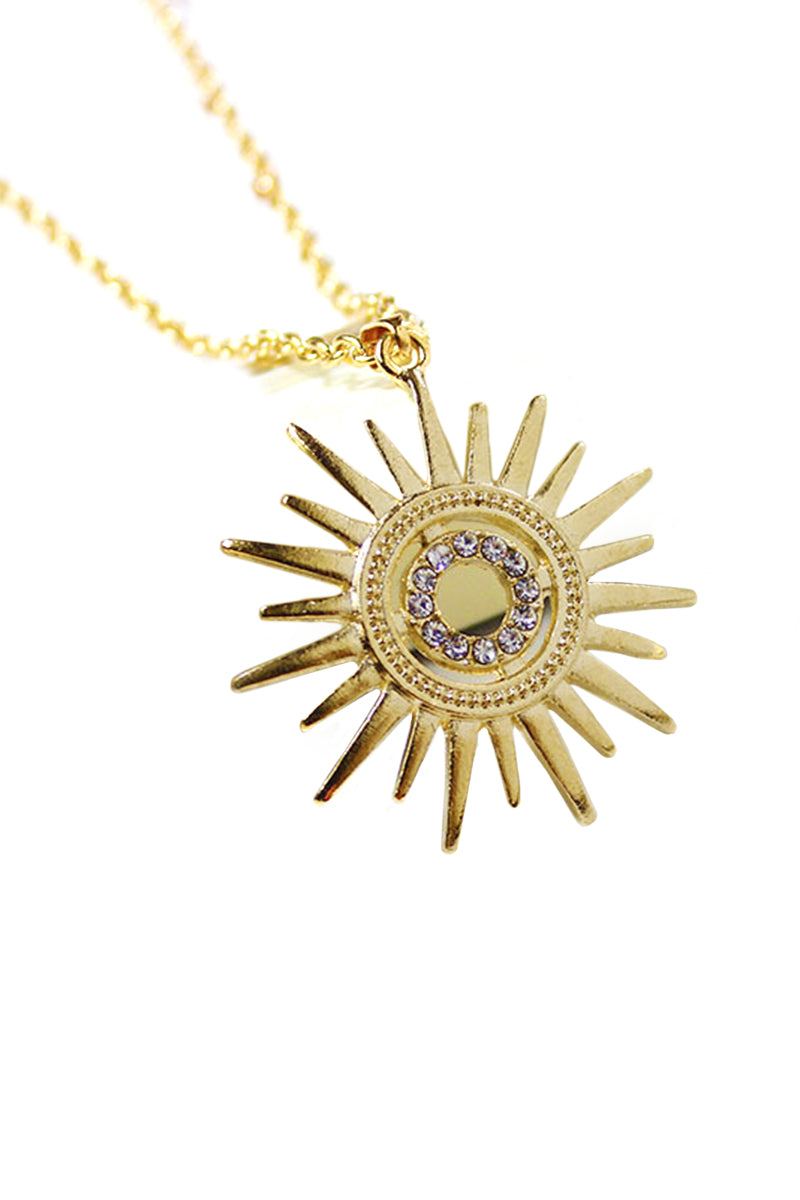 CupNami Sun Shaped Necklace Encrusted By Rhinestone