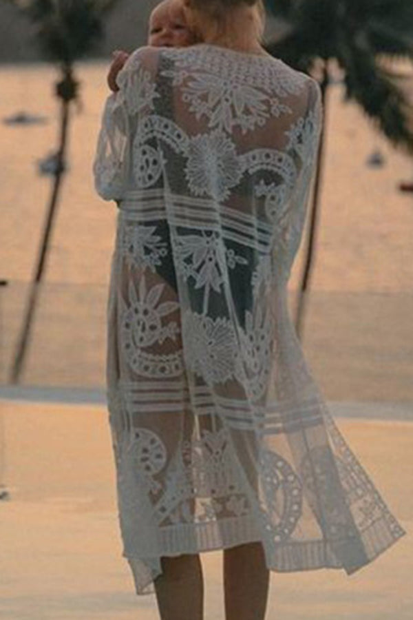 CupNami Embroider Lace Maxi Cover Up