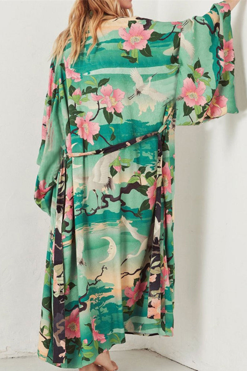 CupNami Floral Open Front Cover Up