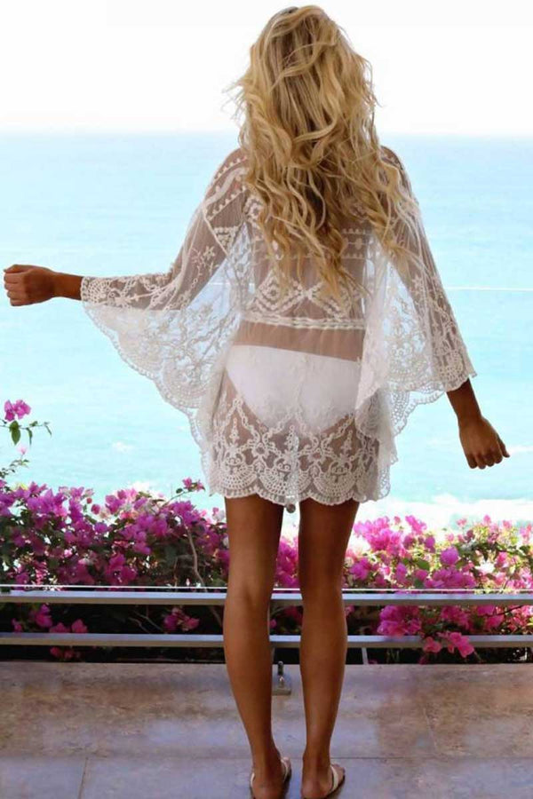 CupNami Lace Mesh Embroidery Cover Up