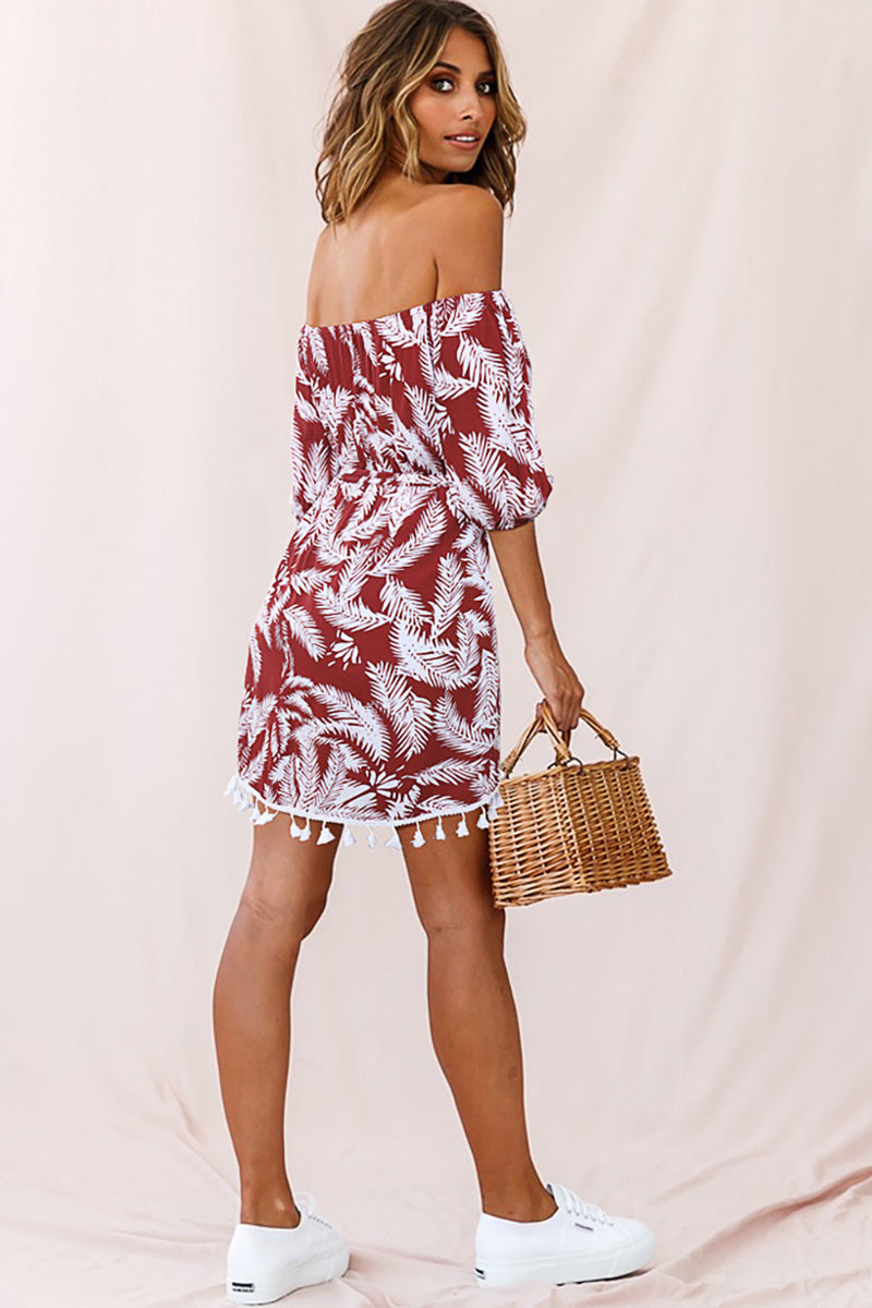 CupNami Leafy Off-Shoulder Mini Dress With Pom-Pom Tassels