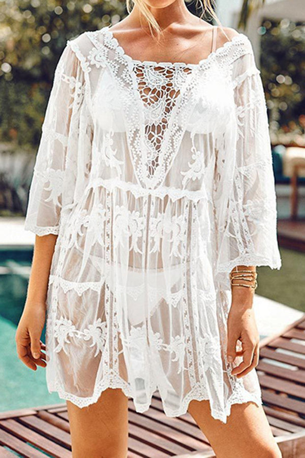CupNami Embroider Cut Out Lace Cover Up