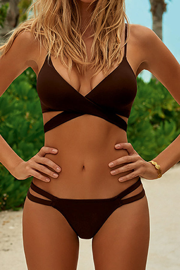 CupNami Brown Simple And Sexy Bikini Set
