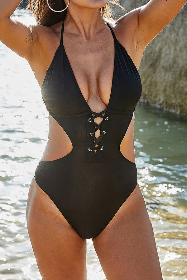 CupNami Sexy Open Back One Piece Swimsuit