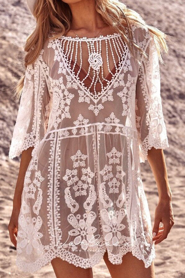 CupNami White Bohemia Lace Cover Up