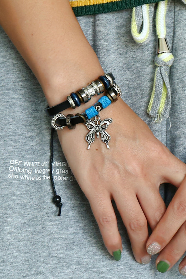 CupNami Double-Layered Butterfly Shaped Leather Bracelet