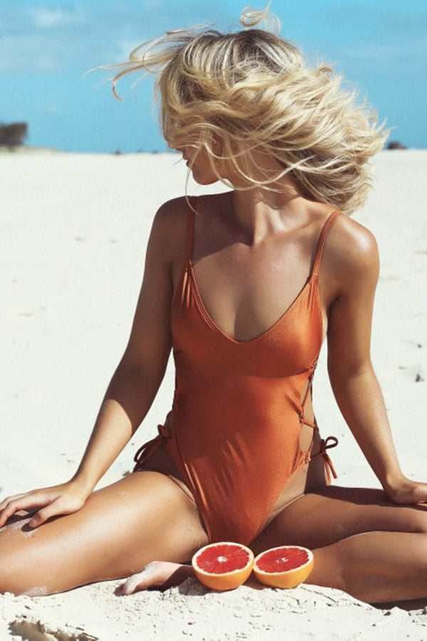 CupNami Solid Backless One Piece Swimsuit