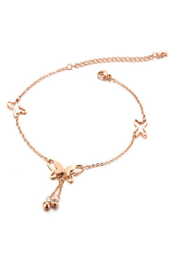 CupNami Copper Plated Butterfly Anklet With Diamond Tassels