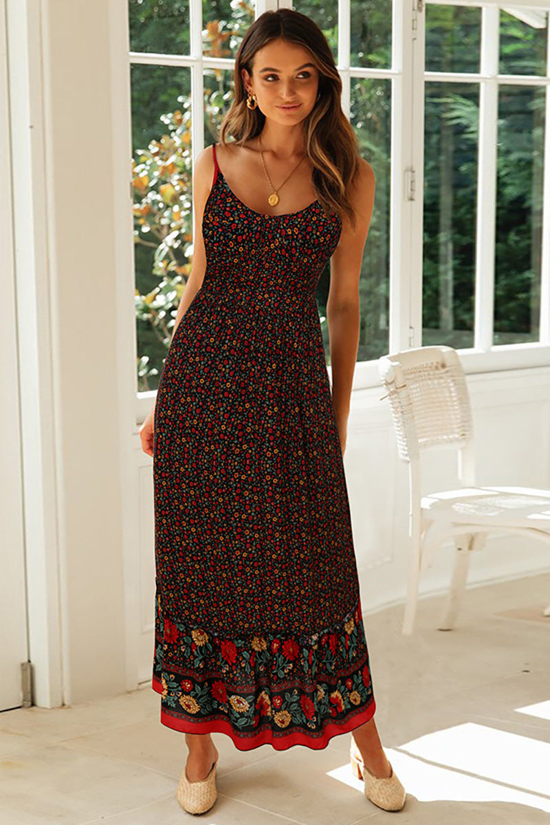 CupNami Boho Floral V-Neck Sleeveless Maxi Dress