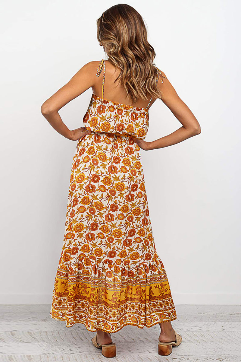 CupNami Boho Sleeveless Midi Slip Dress With Knotted Belt