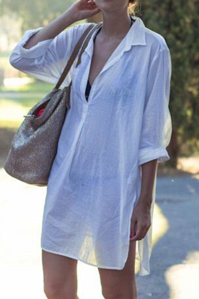 CupNami White Long Sleeve Cover Up